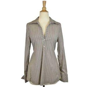 BCBG Maxazria Long Sleeve Button Up Striped Shirt